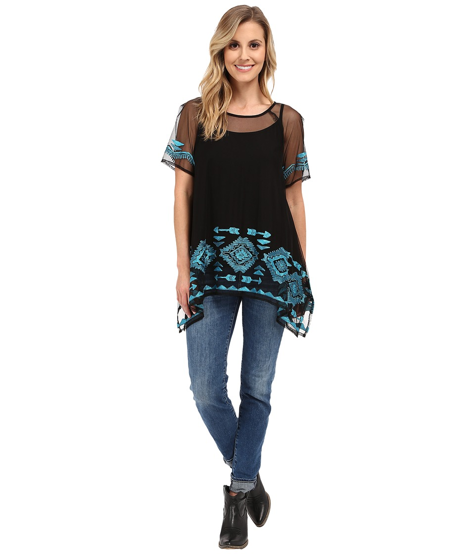 Double D Ranchwear Churros Top Black Womens Clothing