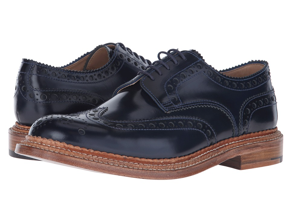 Grenson Archie Triple Welt Navy Rub Off Mens Shoes