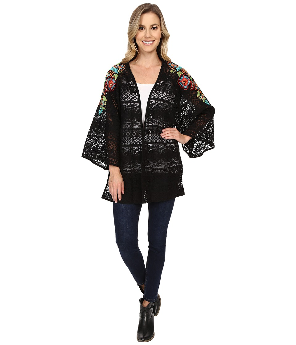 Double D Ranchwear Pepino Dulce Kimono Black Womens Blouse