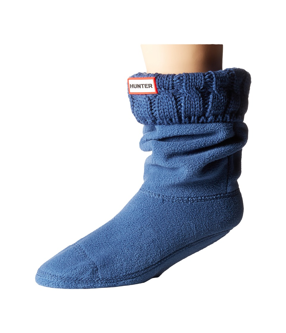 Hunter 6 Stitch Cable Boot Sock Short Tarp Blue Womens Crew Cut Socks Shoes