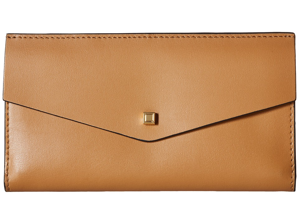 Lodis Accessories - Blair Unlined Amanda Continental Clutch (Nutmeg/Cobalt) Clutch Handbags