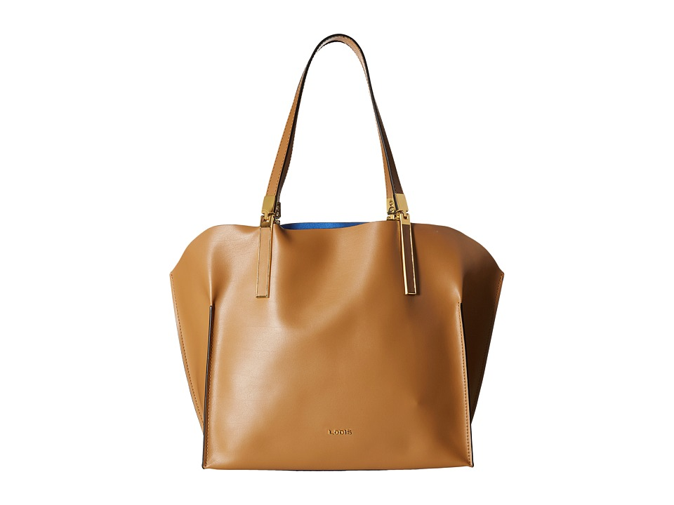 Lodis Accessories - Blair Unlined Anita East West Tote (Nutmeg/Cobalt) Satchel Handbags