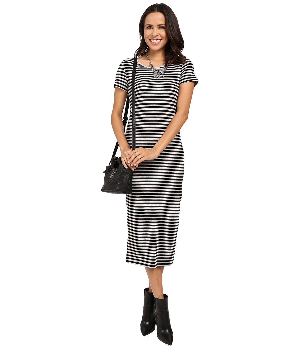 ONLY Abbie Stripe Short Sleeve Calf Dress Black/Light Grey Melange Wide Striped Womens Dress