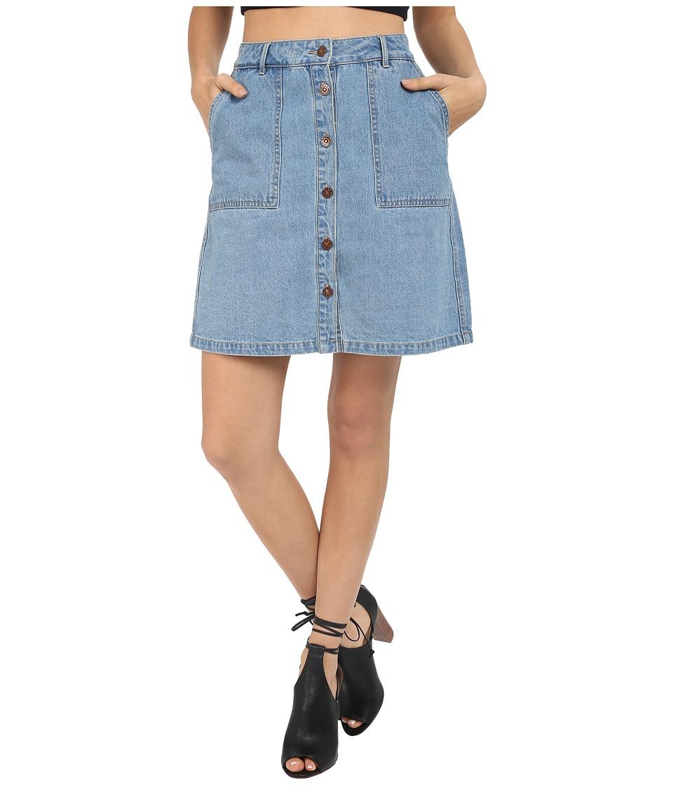 ONLY New Farrah A Line Denim Skirt Light Blue Denim Womens Skirt