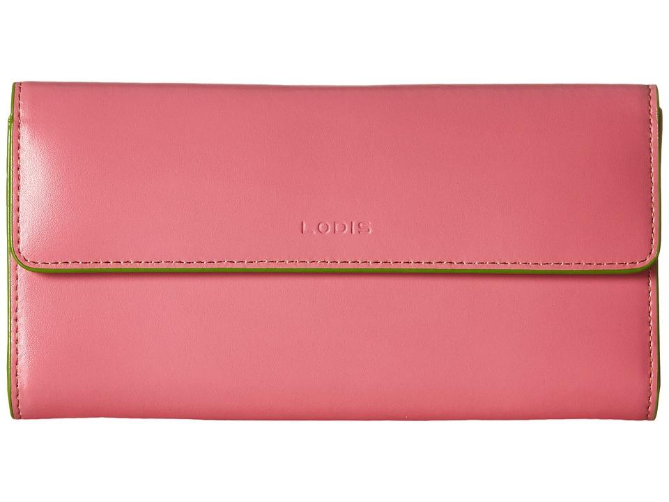 Lodis Accessories Audrey Checkbook Clutch Pink/Kiwi Wallet Handbags