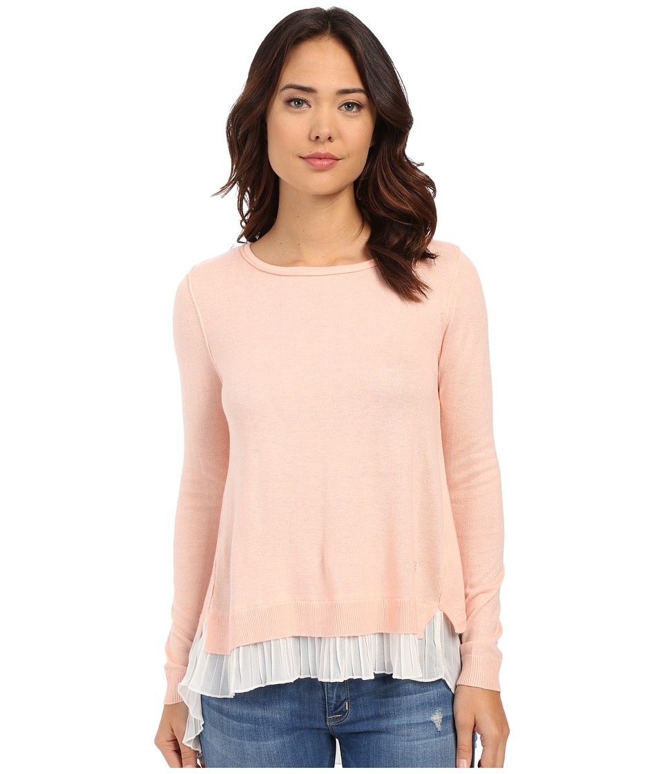 ONLY Lynn Plisse Long Sleeve Pullover Peach Blush Womens Long Sleeve Pullover