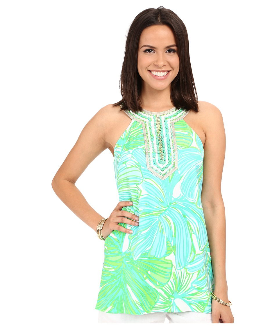 Lilly Pulitzer Adelina Tunic Green Sheen Fronds Place Womens Clothing