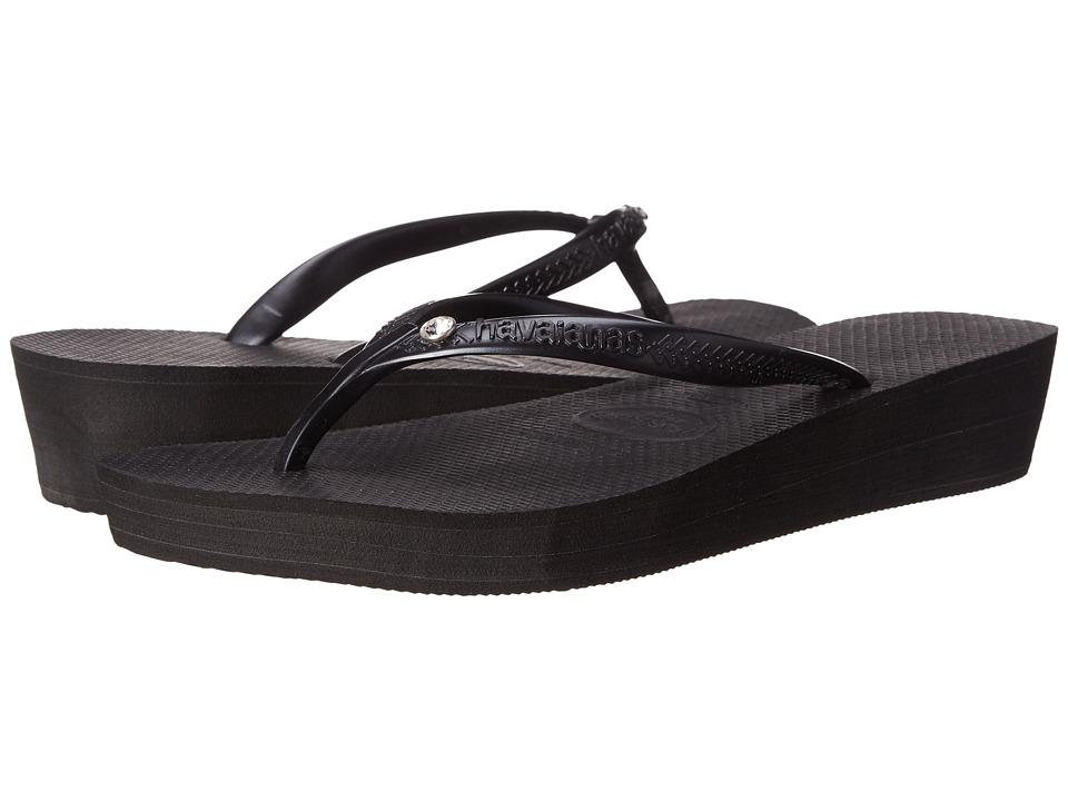 Havaianas - Highlight Glamour Flip Flops (Black/Dark Grey) Women