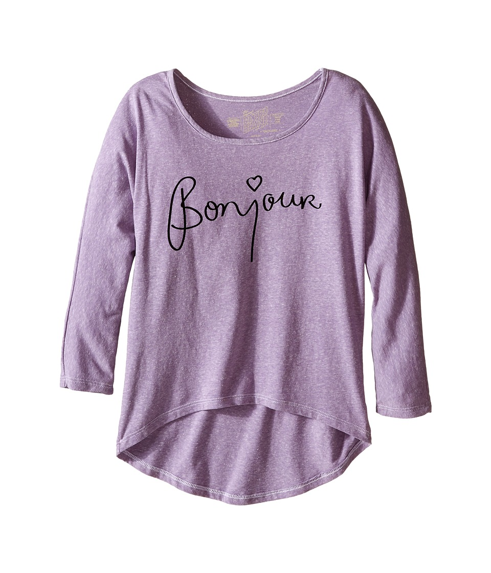 The Original Retro Brand Kids Bonjour 3/4 Dolman Tee Big Kids Streaky Plum Girls Long Sleeve Pullover