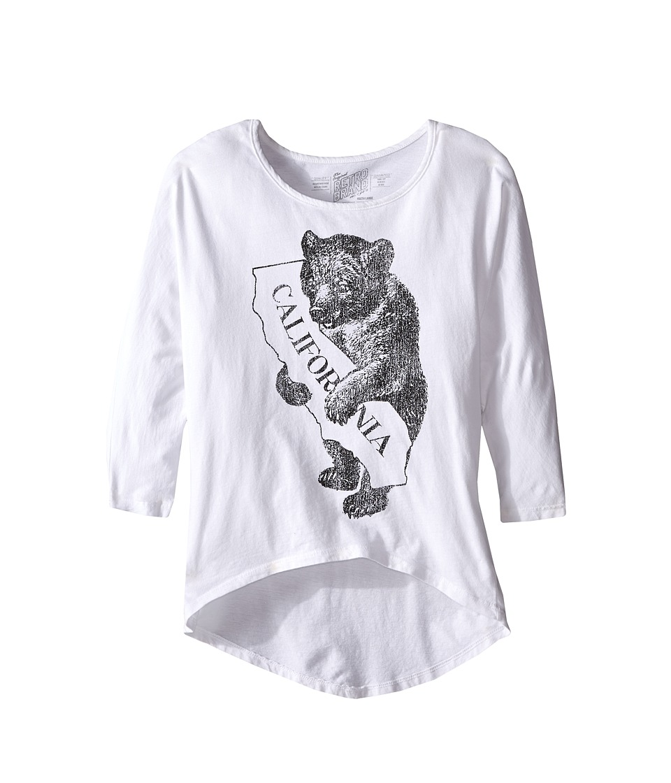 The Original Retro Brand Kids Cali Bear 3/4 Dolman Tee Big Kids White Girls Long Sleeve Pullover