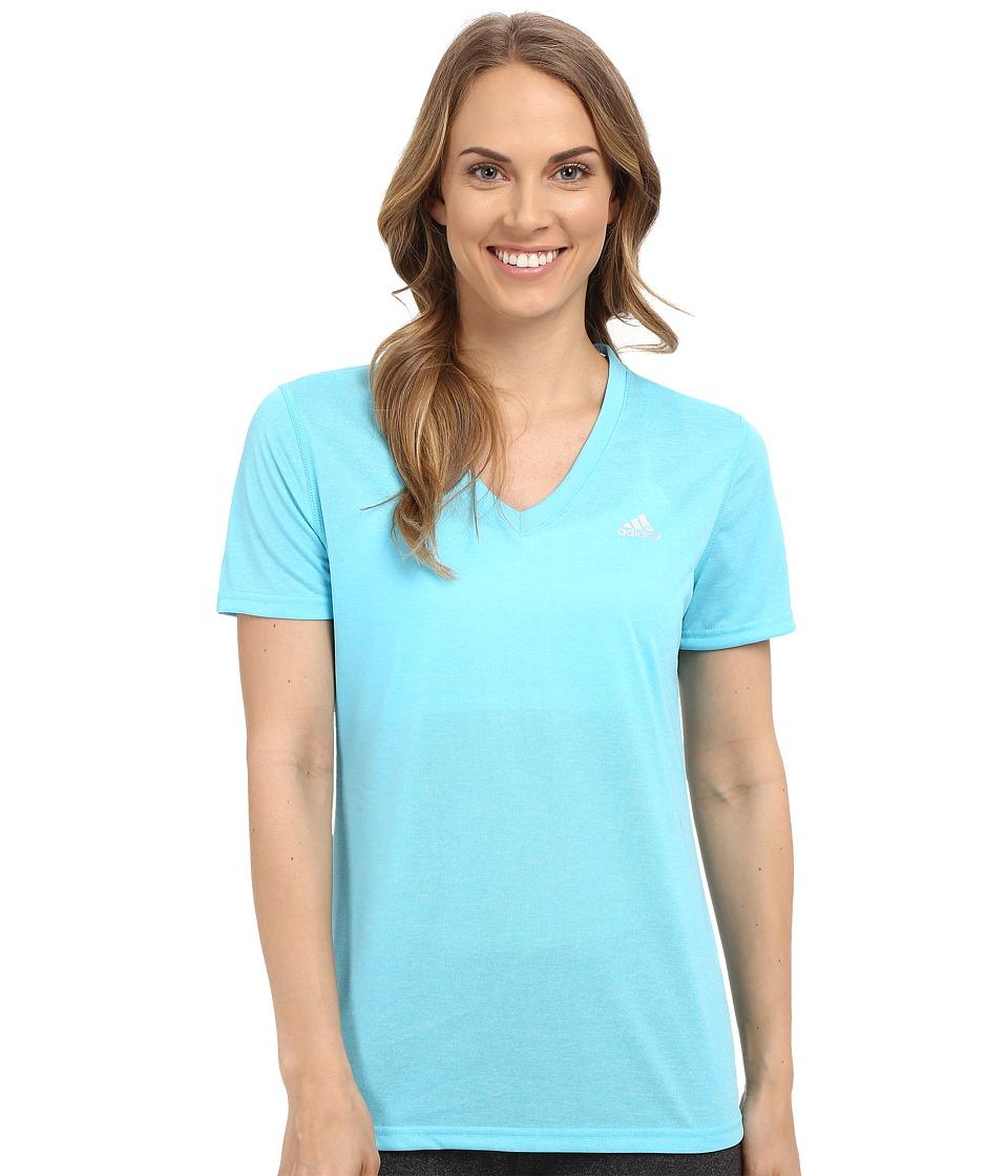 adidas - Ultimate S/S V-Neck Tee (Blue Glow/Matte Silver) Women