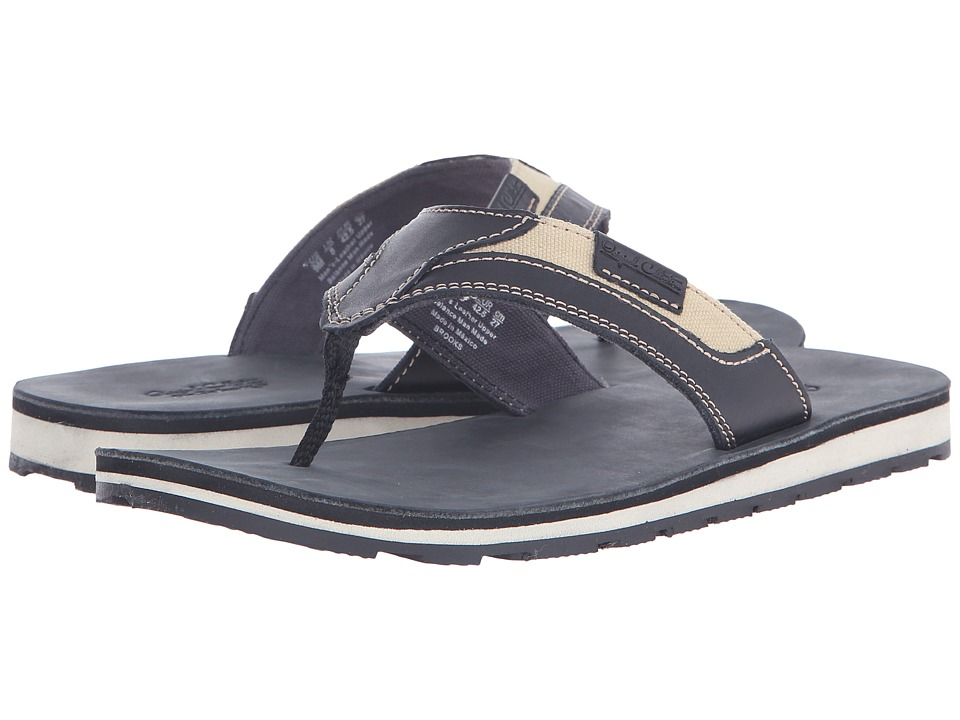 Dr. Scholls BROOKS Original Collection Black Leather Mens Sandals
