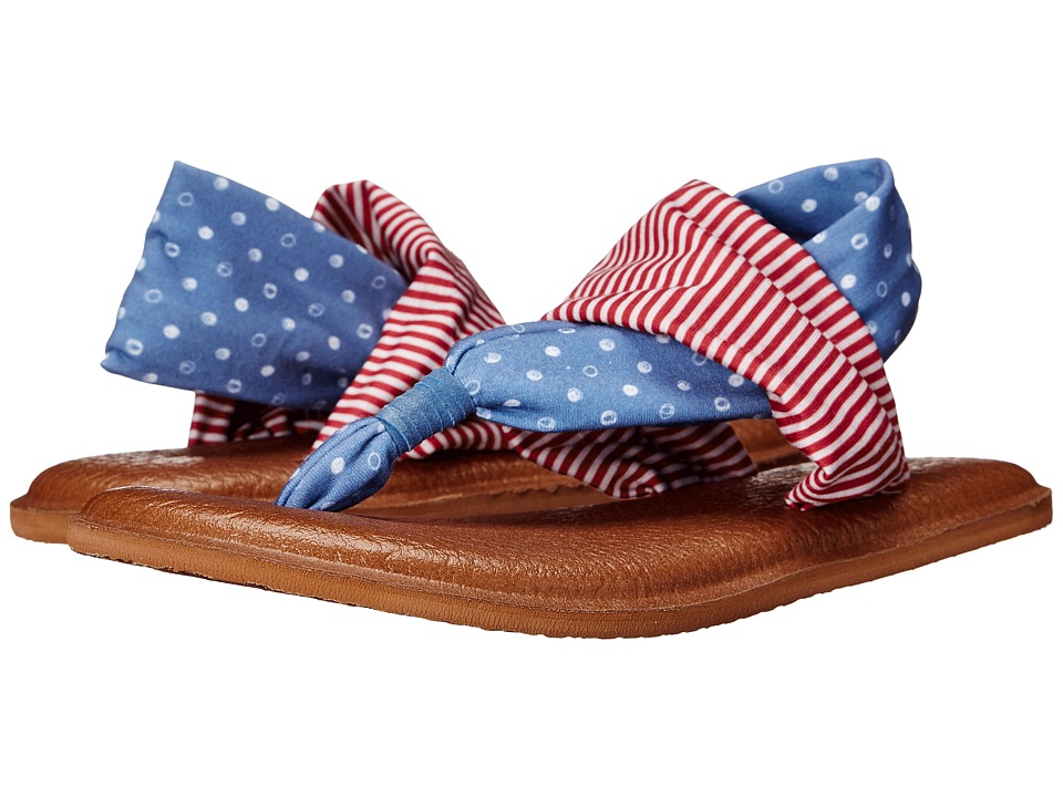 Sanuk Yoga Sling 2 Prints Patriot America Dots/Stripes Womens Sandals