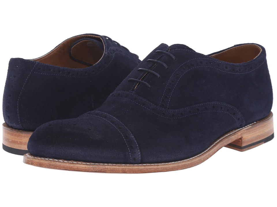 Grenson Matthew Navy Suede Mens Lace Up Cap Toe Shoes