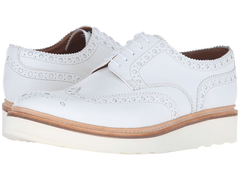 Grenson Archie V White Calf Mens Lace Up Wing Tip Shoes