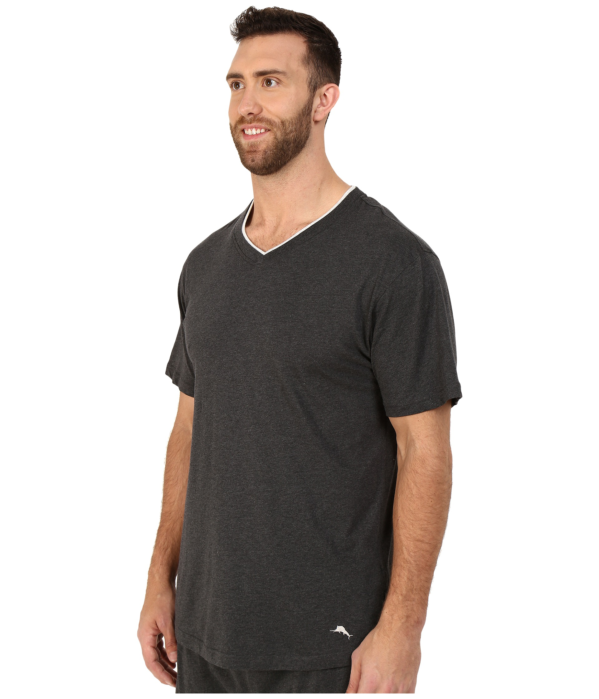 Tommy bahama big tall cotton modal v neck short sleeve t for Tall v neck t shirts