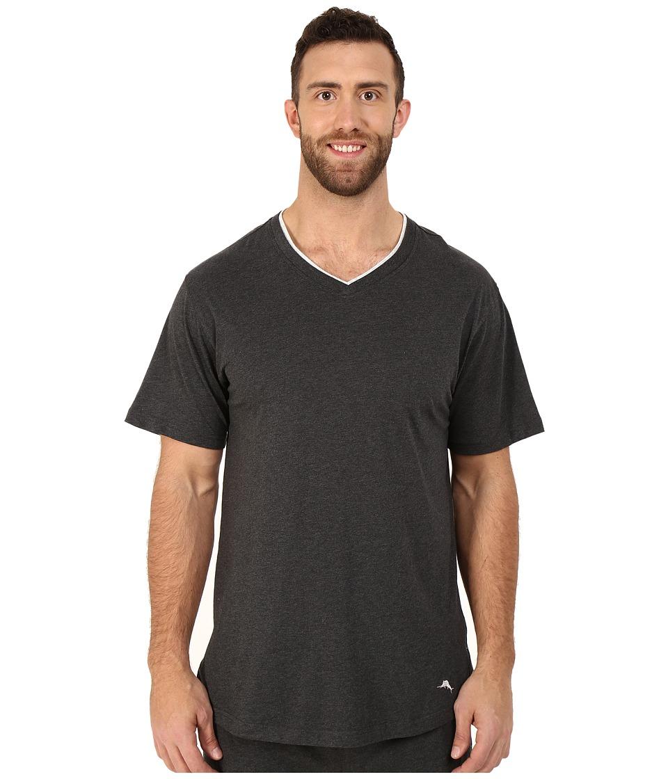 Tommy Bahama - Big Tall Cotton Modal V-Neck Short Sleeve T-Shirt (Black Heather) Men