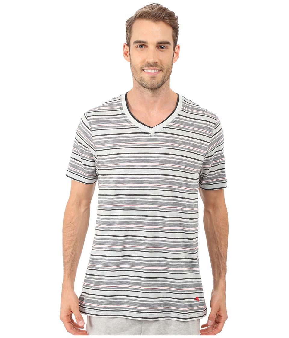 Tommy Bahama - Yarn Dye V-Neck Short Sleeve T-Shirt (Heather Stripe) Men