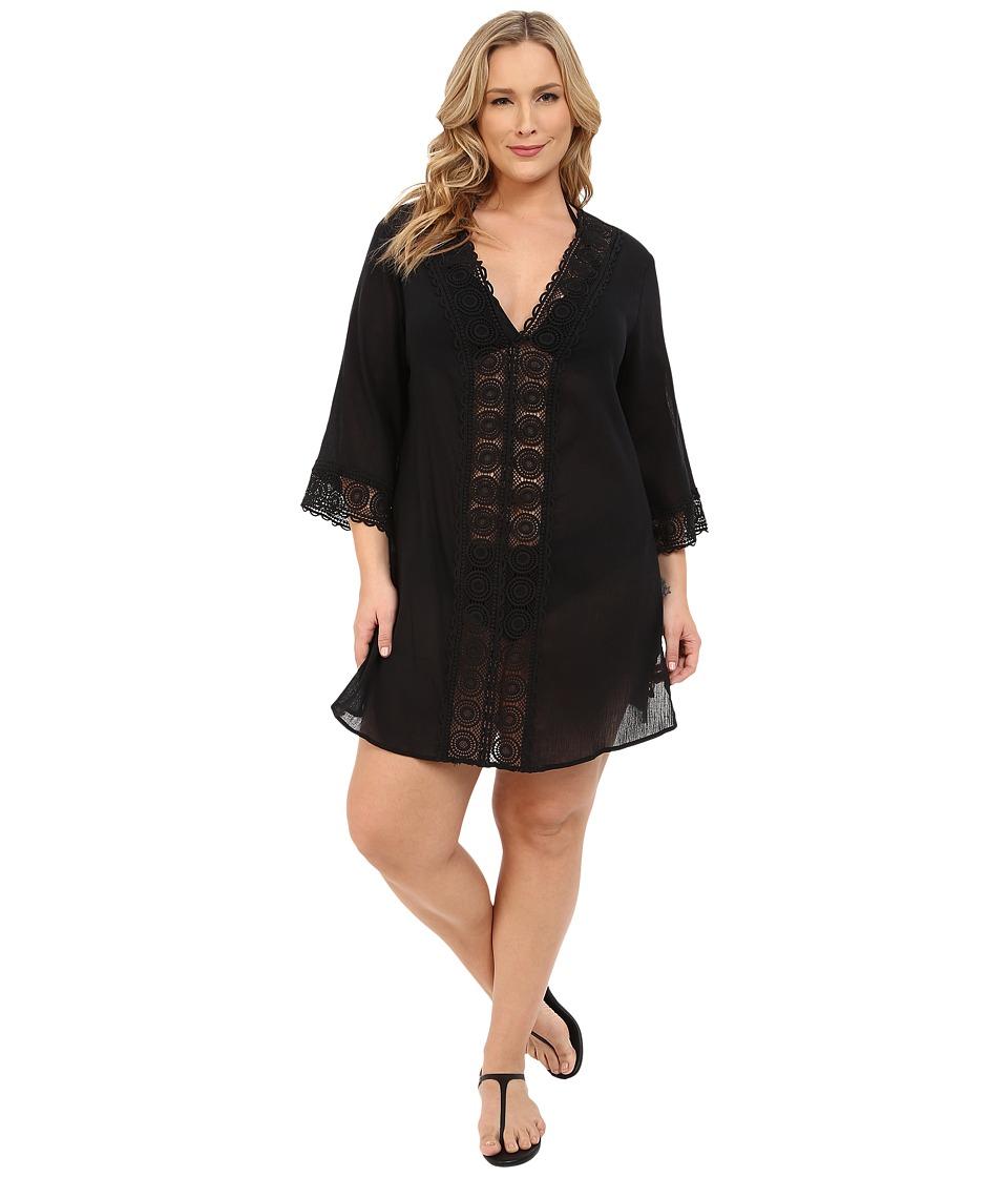 La Blanca Plus Size Island Fare Tunic Cover-Up (Black) Women