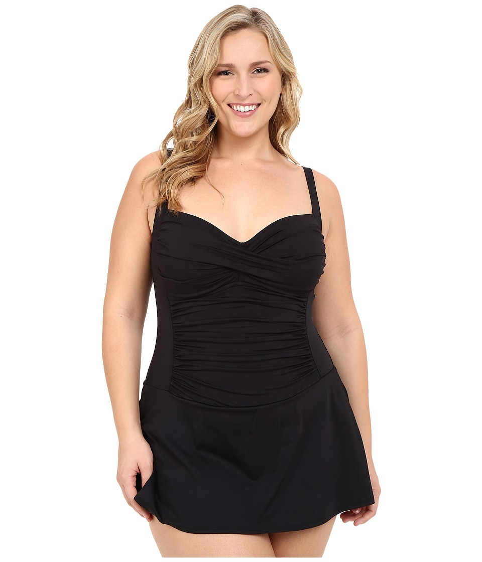 La Blanca Plus Size Island Goddess Sweetheart Swimdress (Black) Women