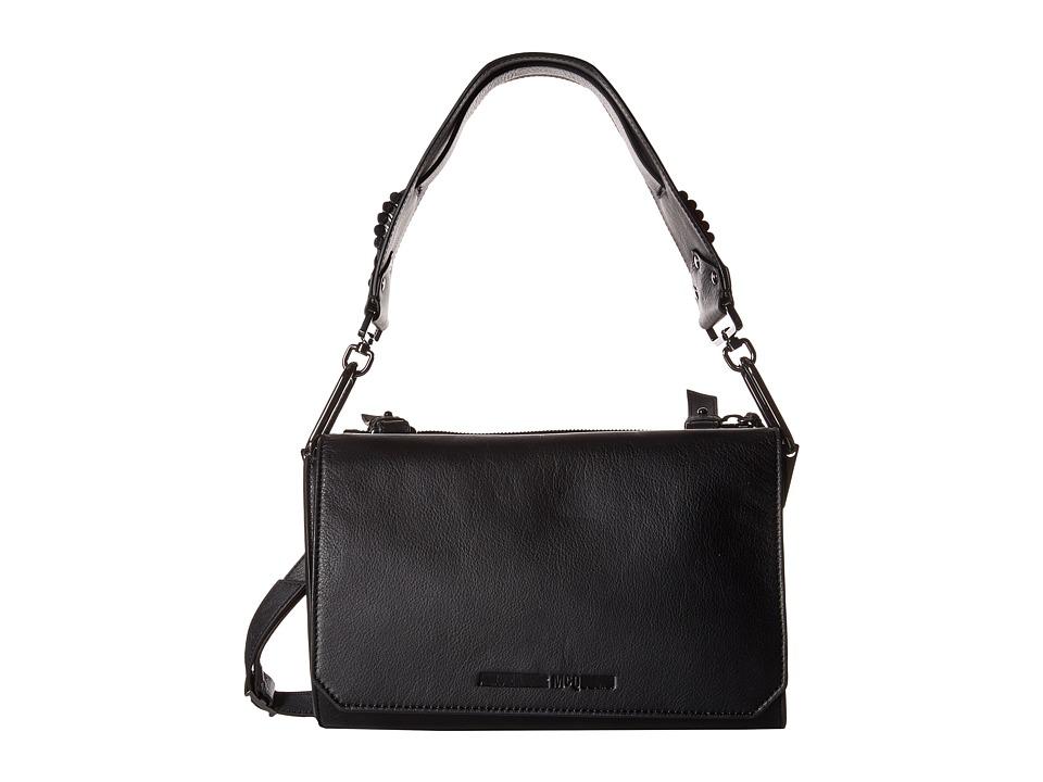 McQ Vail Smooth Leather Shoulder Bag Black Shoulder Handbags