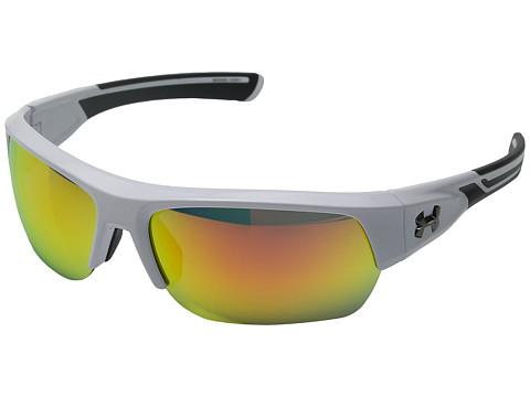 Under Armour UA Big Shot - Shiny White/Charcoal Gray Frame/Gray/Orange Multiflection Lens