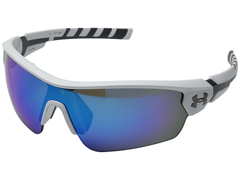 Under Armour UA Rival - Satin White/Charcoal Gray Frame/Gray/Blue Multiflection Lens