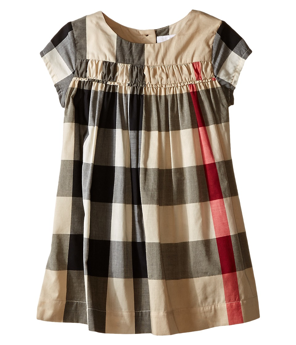 Burberry Kids Check Dress w/ Ruched Panel Infant/Toddler New Classic Check Girls Dress