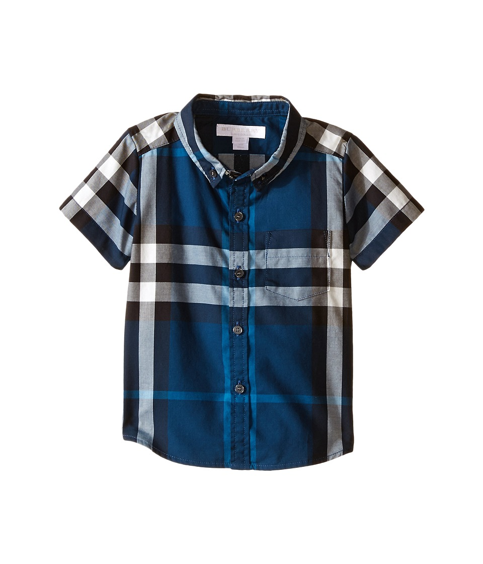 Burberry Kids Check Shirt with Front Pocket Infant/Toddler Cadet Blue Boys Short Sleeve Button Up