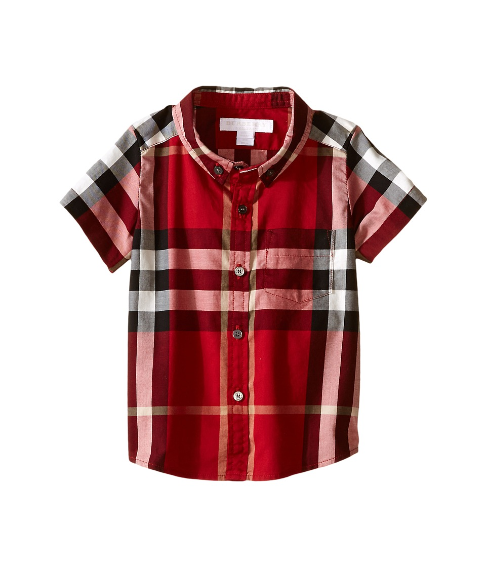 Burberry Kids Check Shirt with Front Pocket Infant/Toddler Parade Red Boys Short Sleeve Button Up