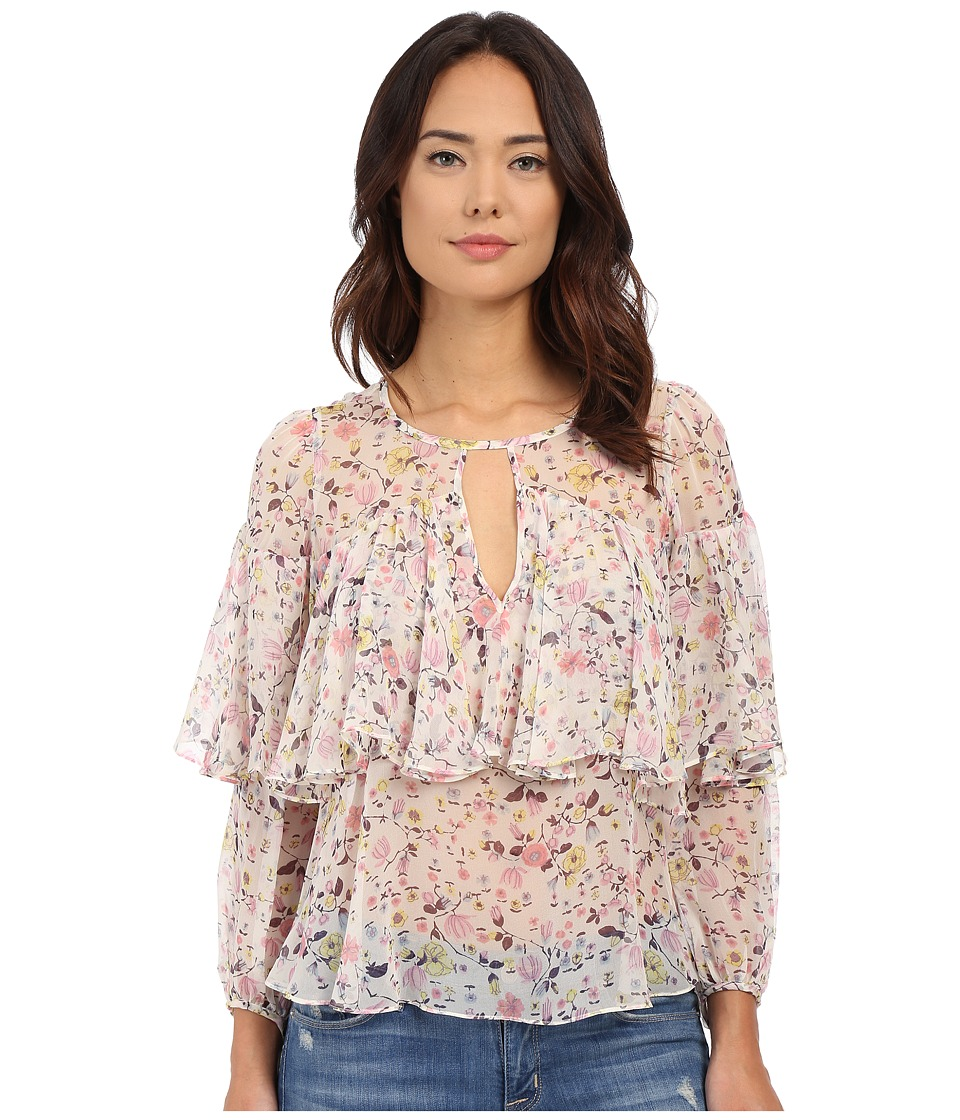 Rebecca Taylor Long Sleeve Tapestry Garden Chiffon Top Creamsicle Womens Blouse