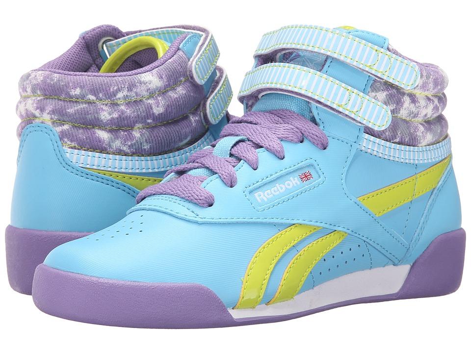 Reebok Kids - Freestyle Hi (Little Kid) (Blue Splash/Smoky Violet/Semi Solar Yellow/Sunwashed) Girl