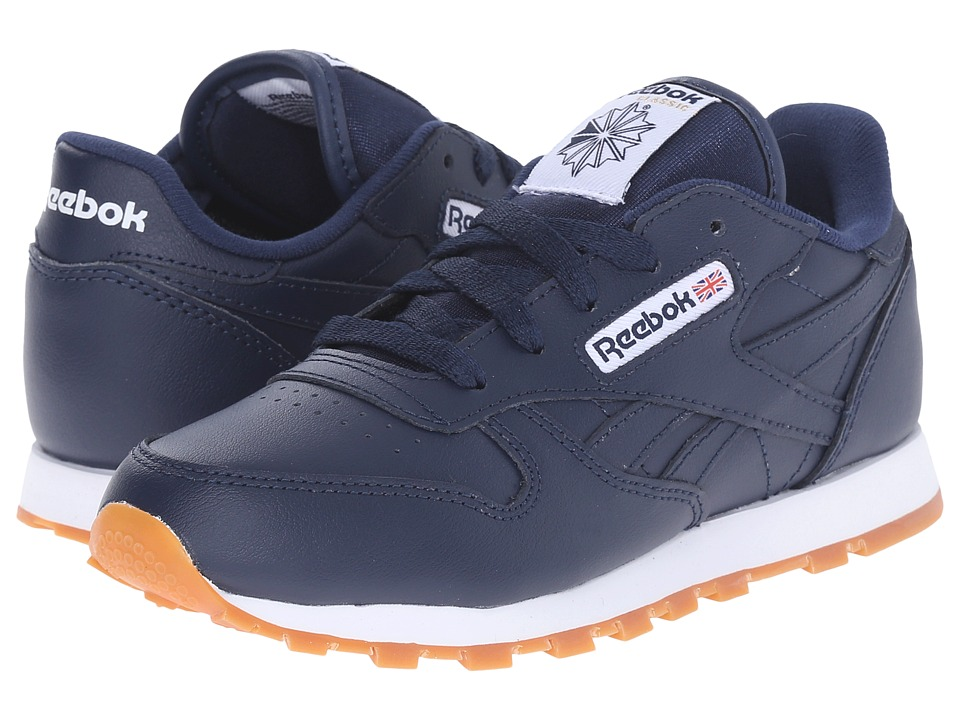 Reebok Kids Classic Leather Gum Little Kid Collegiate Navy/Gum Kids Shoes