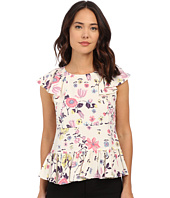 Rebecca Taylor - Short Sleeve Tapestry Garden Ruffle Top