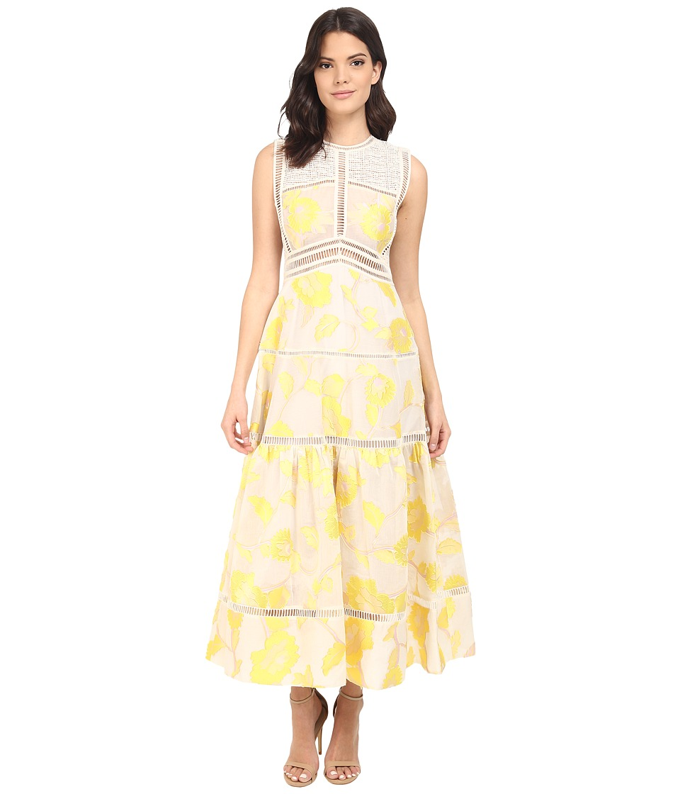 Rebecca Taylor Sleeveless Ella Fil Coupe Dress Lemon Womens Dress