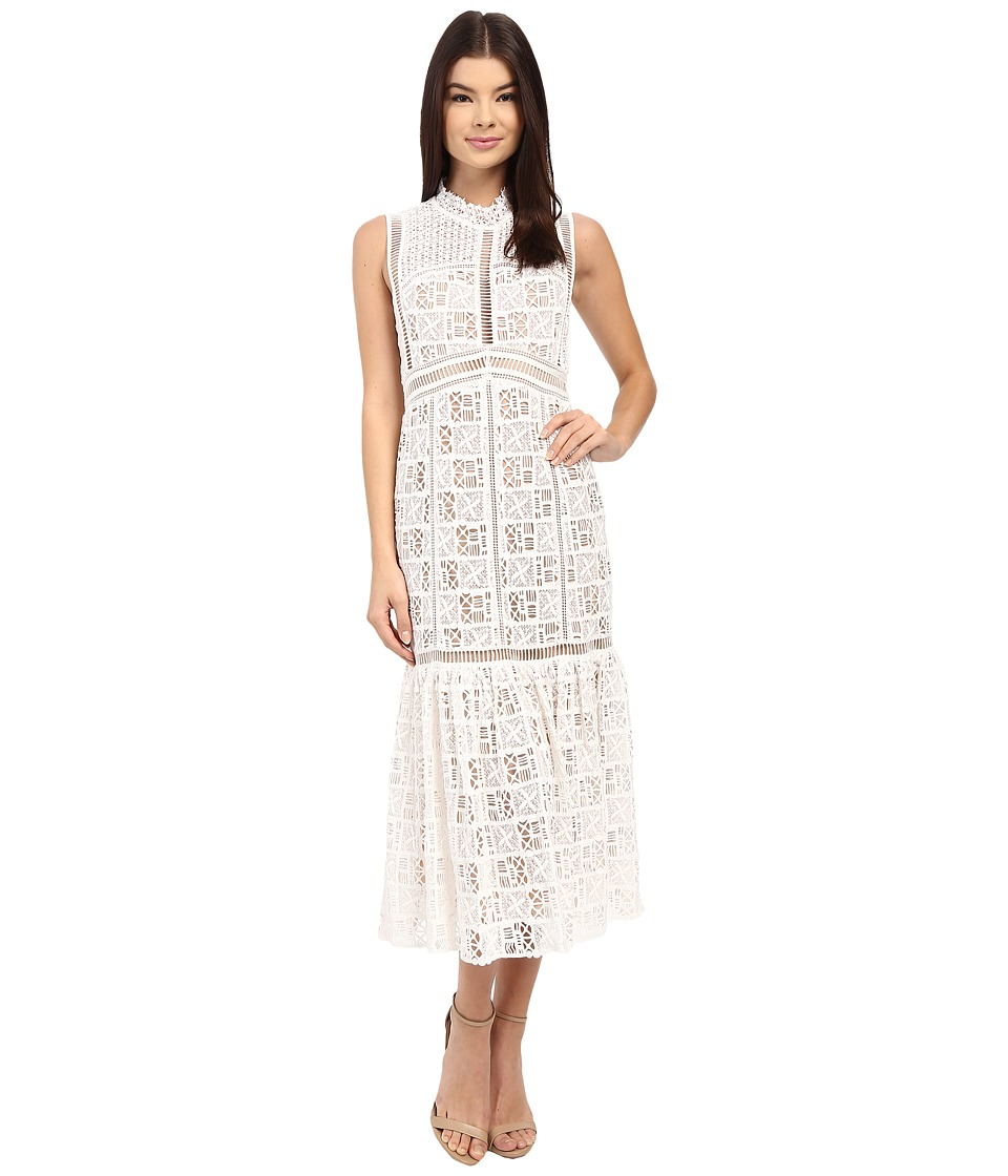 Rebecca Taylor Sleeveless Crochet Lace Dress Off White Womens Dress