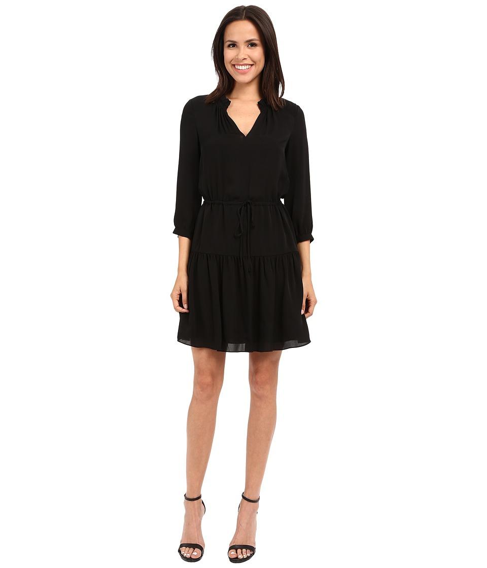 Rebecca Taylor Long Sleeve Silk Double Georgette Dress Black Womens Dress