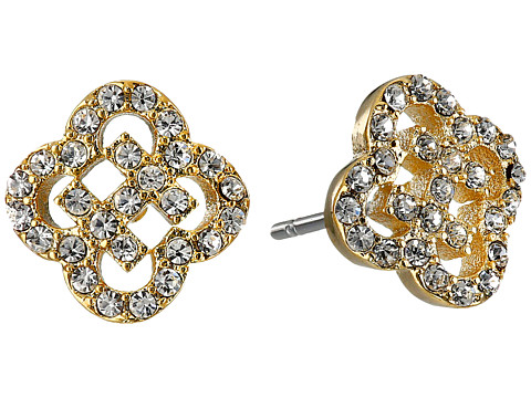 Cole Haan Graphic Logo Cut Out Pave Stud Earrings - Gold/Crystal