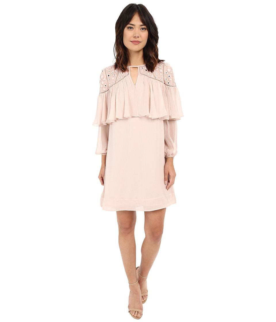 Rebecca Taylor Long Sleeve Mirror Eyelet Dress Cameo Pink Womens Dress