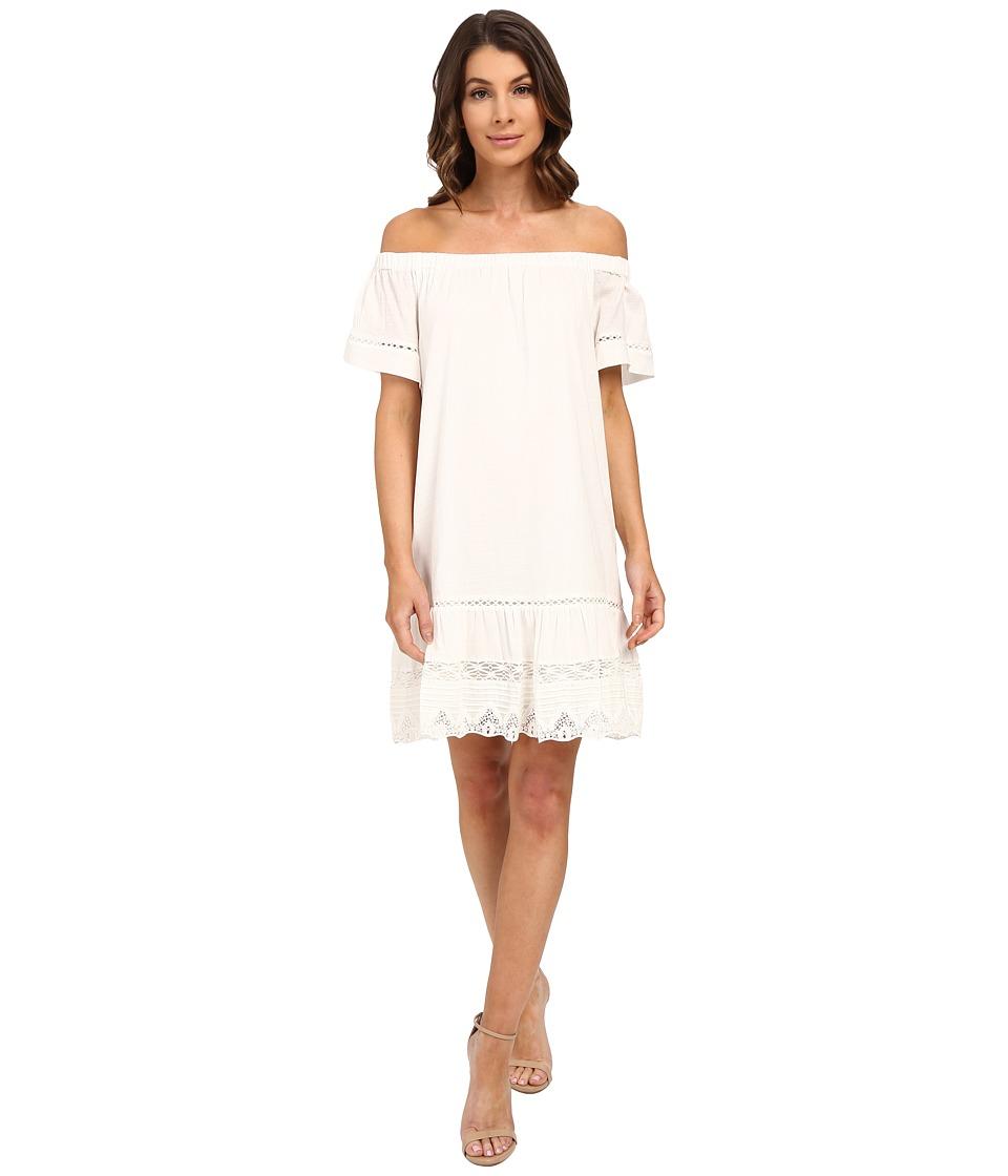 Rebecca Taylor Off Shoulder Cotton Dress Snow Womens Dress