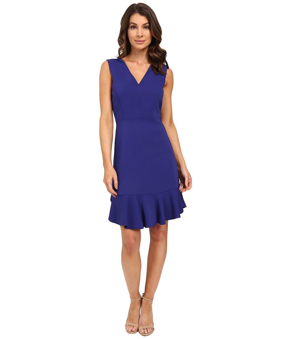 Rebecca Taylor Sleeveless V Neck Suiting Dress Santorini Blue Womens Dress