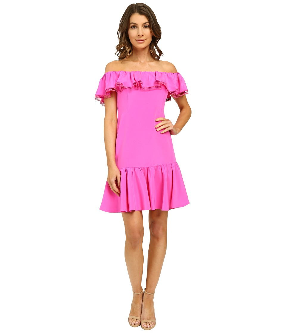 Rebecca Taylor Off Shoulder Silk Dress Fuchsia Womens Dress