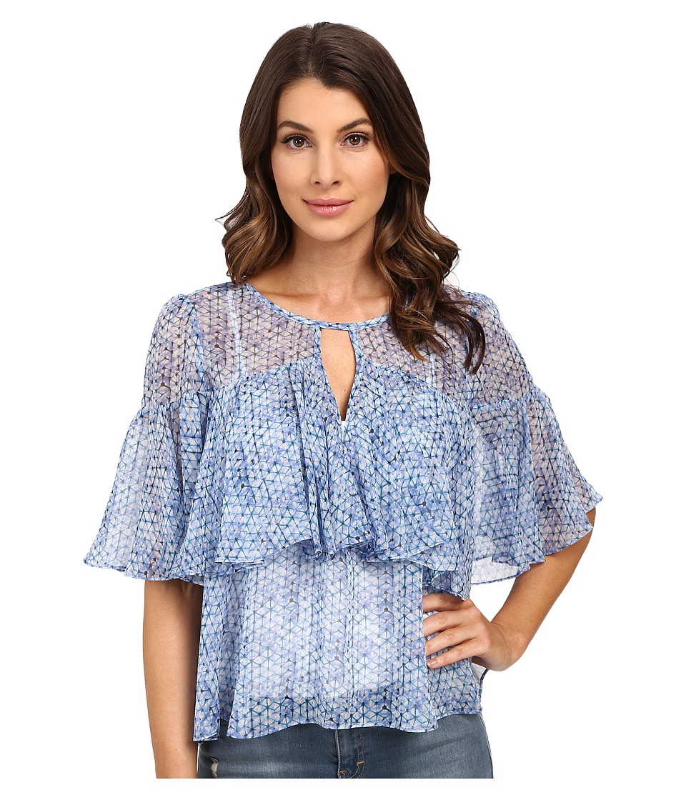 Rebecca Taylor Short Sleeve Shibori Ruffle Top Violet Teal Womens Blouse