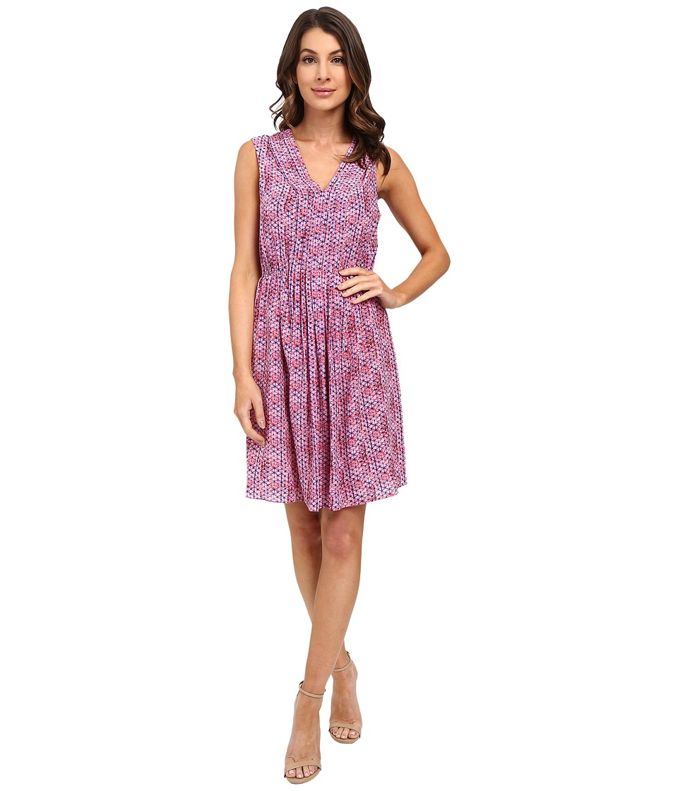 Rebecca Taylor Sleeveless Shibori V Neck Dress Watermelon Womens Dress