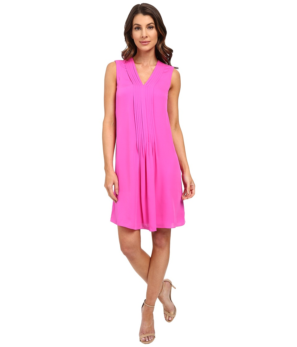 Rebecca Taylor Sleeveless Silk Double Georgette V Neck Dress Fuchsia Womens Dress