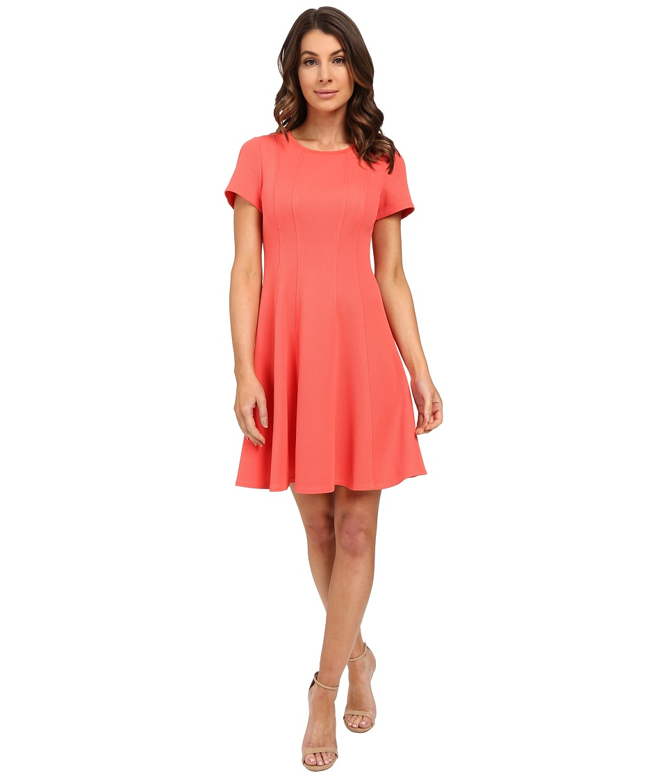 Rebecca Taylor Short Sleeve Knit Pique Dress Persimmon Womens Dress
