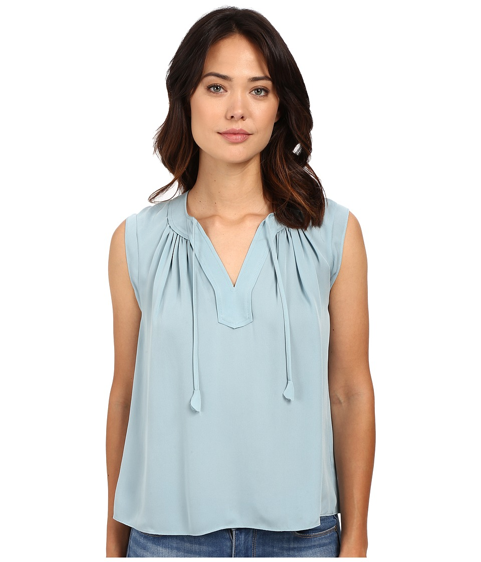 Rebecca Taylor Sleeveless Silk Double Georgette Tie Top Soft Mint Womens Blouse