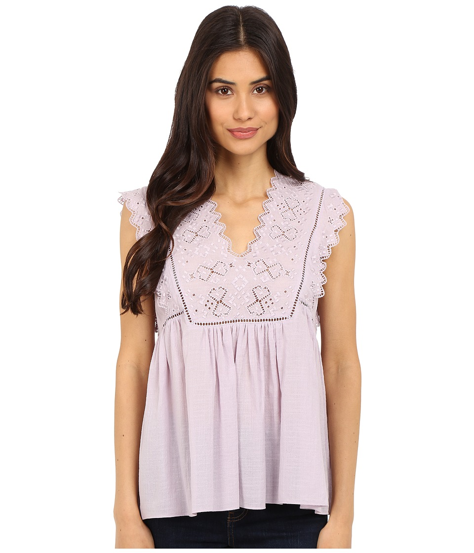 Rebecca Taylor Sleeveless Stitched Square Embroidery Top Lilac Womens Blouse