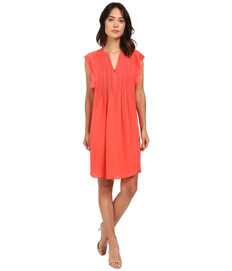 Rebecca Taylor Sleeveless Silk Double Georgette Dress Tangerine Pink Womens Dress