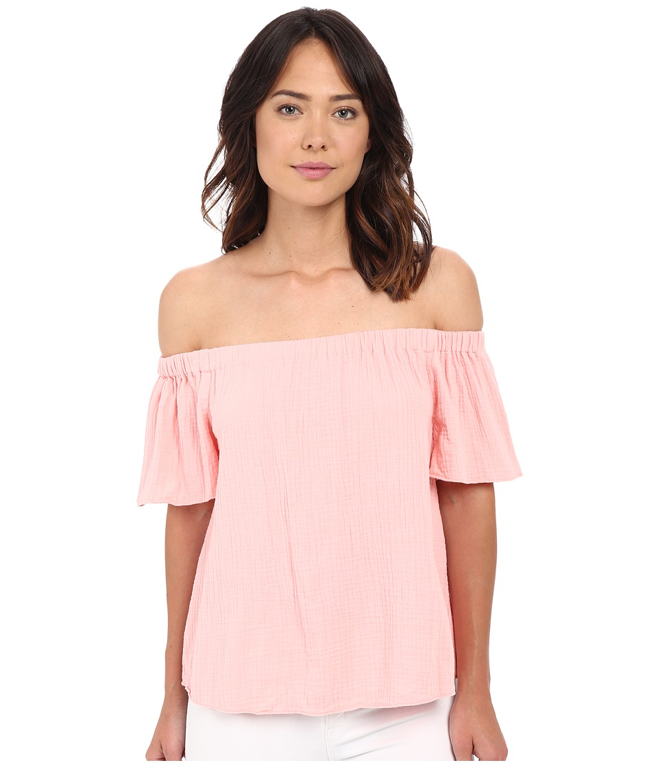 Rebecca Taylor Off Shoulder Gauze Top Malibu Peach Womens Blouse
